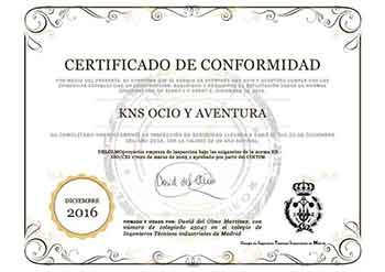 Certificado de conformidad del parque de aventura KNS Aventura Park Bilbao Bizkaia